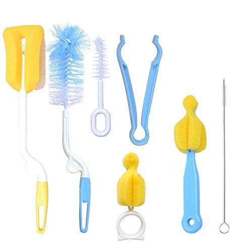 7 Pcs Baby Milk Bottle Nipple Straw Brush Sponge Nylon Clean