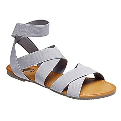 Trary Open Toe Cute Elastic Flat Sandals for Women Size: 5