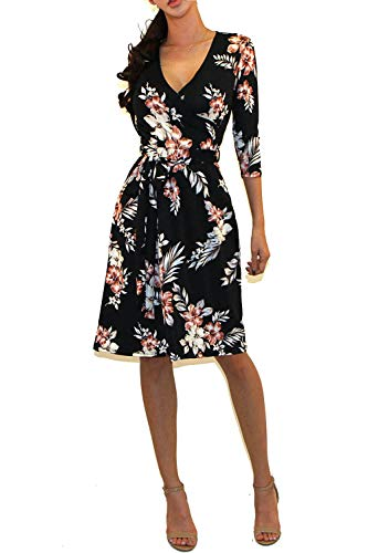 Vivicastle Women's Printed V-Neck 3/4 Sleeve Faux Wrap Waist Tie Midi Dress (B49, Multi, Large)