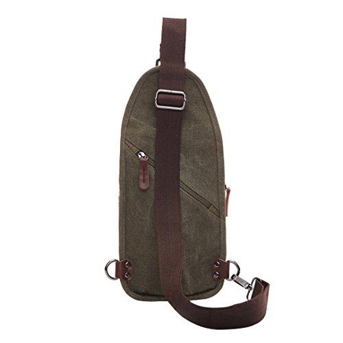 Wewod pecho Paquete/paquetes/hombre bolso de la lona de la moda retro de la estilo europeo y americano 18 x 28 x 7 cm (L*H*W) Verde