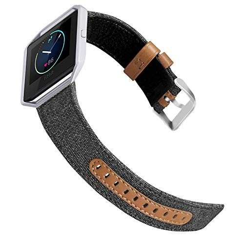 Jobese For Fitbit Blaze Bands, Soft Classic Canvas Fabric Straps with Genuine Leather Bands with Silver Metal Frame for Fitbit Blaze Accessories Wristbands