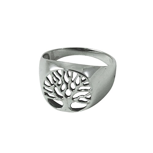 apop nyc Sterling Silver Tree of Life Signet Ring Size 10
