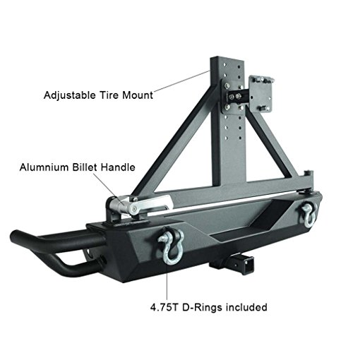 Restyling Factory Jeep Wrangler JK Black Rear Bumper with Tire Carrier and Hitch Receiver 2 inch