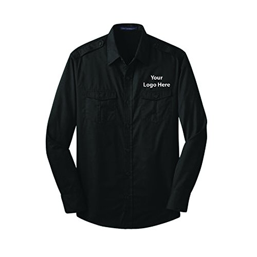 Resistant Twill Shirt - 24 Quantity - $36.65 Each with YOURLOGO/Customized Black (Black Logoed Sweatshirt)