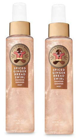 Bath and Body Works 2 Pack Spiced Gingerbread Swirl Diamond Shimmer Mist 4.9 -