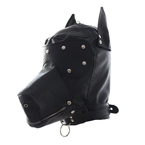 YiFeng Costume Party Leather Gimp Dog Puppy Hood Full Mask Bondage Fetish  Halloween(Black)