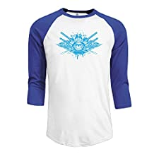 Men's Japan Samurai Armor And Katana 3/4 Sleeve O Neck Raglan Baseball T Shirt RoyalBlue