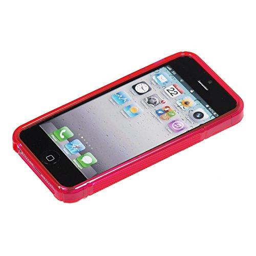 PhoneNatic Case für Apple iPhone 5 / 5s / SE Hülle Silikon pink S-Style Logo Cover iPhone 5 / 5s / SE Tasche + 2 Schutzfolien