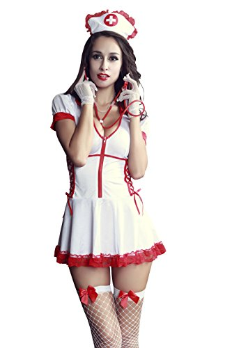Sexy Nurse Uniform (REINDEAR Sexy Business Attire Uniform Complete Set Nightie Racy Lingerie US Seller (Nurse))