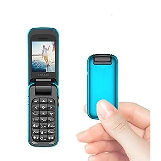 L8star Small Mini Flip Cell Phone MP3 Magic Voice Changer Bluetooth Dialer Music Cellphone BM60 (Blue)