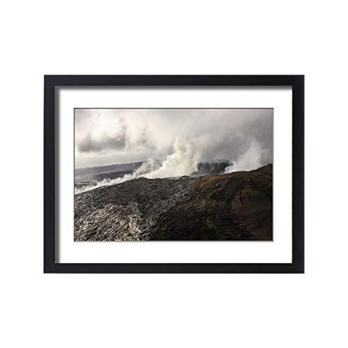 (Media Storehouse Framed 24x18 Print of Aerial View of Smoke from Mauna Loa Caldron, Big Island, Hawaii, USA (18247077))