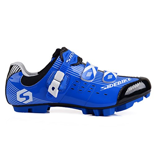 SIDEBIKE MTB Cycling Shoes Men's Professional Mountain Bike Shoe (SD002-Blue Black, EU42/US 9 /Ft270mm)