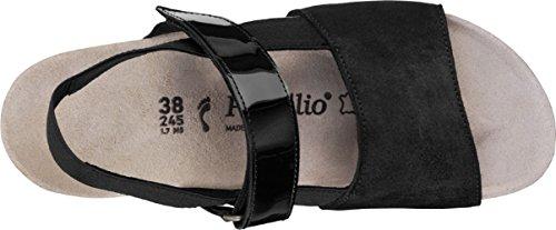 Linda A Tacco Leder Col Con Scarpe T Plateau Donna Cinturino Papillio Nero FqS8ZxS