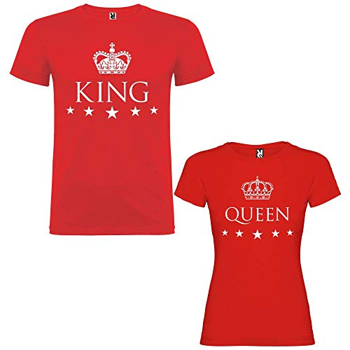 Pack de 2 Camisetas Rojas para Parejas King y Queen Blanco: Amazon.es: Ropa y accesorios