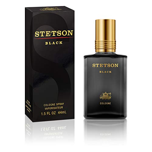 (Stetson Black Cologne Spray for Men by Stetson 1.5 Fluid Ounce Spray Bottle  A Uniquely Bold Blend of Warm Spices and Fresh Woods)