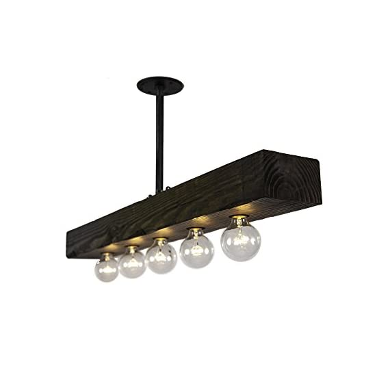 West Ninth Vintage Fayette Recessed Wood Beam Chandelier - Indoor Downlight for Farmhouse Home Decor - Kitchen Island, Bar, Dining Room, Pool Table - UNIQUE CONVERSATION STARTER | A beautiful fixture made with distressed wood, with a stain to emphasize the natural grains - the light is a focal point for any room. Family and friends will immediately be drawn to it MADE IN THE USA | Each unique, style light is carefully crafted in Conshohocken, Pennsylvania. With some made from authentic reclaimed wood materials. DIMMER SWITCH FRIENDLY | All lights work with all dimmer switches so you can adjust the light level to suit your desired ambiance - kitchen-dining-room-decor, kitchen-dining-room, chandeliers-lighting - 41cZFmuAxUL. SS570  -