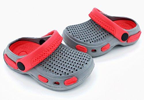 Fashion&JoyTyp429 –Zuecos/escarpines para bebé con correa de talón y suela, protección y buena ventilación para el verano, goma, azul - naranja, EUR 19 Grau - Coral