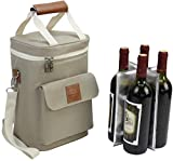 Wine Bottle Carrier 4 Bottle Capacity | Highest Quality Wine Bag for Wine Lover Gifts for Travel Beach and Picnic | Insulated Wine Tote Bag with Handle and Shoulder Strap | Padded Wine Cooler Bag