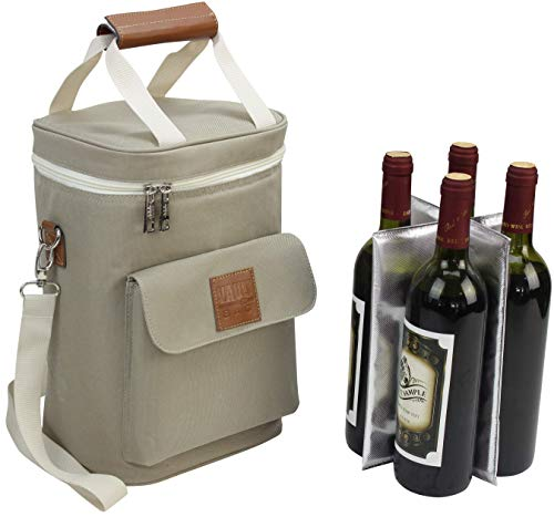 - Wine Bottle Carrier 4 Bottle Capacity | Highest Quality Wine Bag for Wine Lover Gifts for Travel Beach and Picnic | Insulated Wine Tote Bag with Handle and Shoulder Strap | Padded Wine Cooler Bag