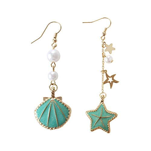 Pearl Star Mashup Personality Interesting Seashell Starfish Earrings Pendant Jewelry for Women