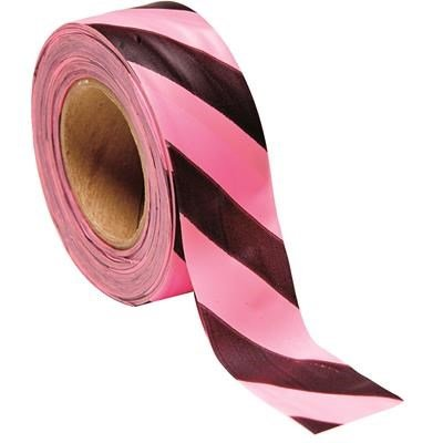 PRESCO Forest Arctic Striped Flagging, Pink-Glo/Black By Tabletop King