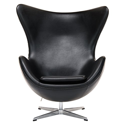 LeisureMod Arne Jacobsen Style Egg Chair in Black Leather