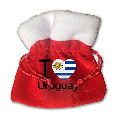 (Sfgggerrd I Love Uruguay Flag Reusable Kids Christmas Drawstring Pouches Candy Jewelry Gift Bag Santa Present)