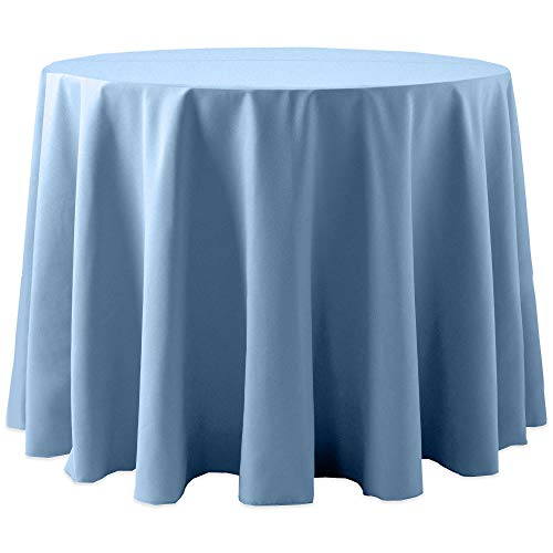 Ultimate Textile -10 Pack- Cotton-Feel 60-Inch Round Tablecloth - for Wedding and Banquet, Hotel or Home Fine Dining use, Light Baby Blue