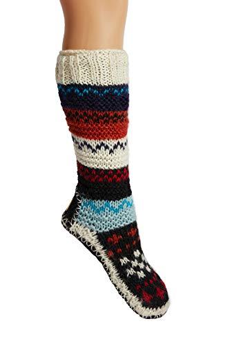 Red Hand Knit Wool Fleece Lined Long Tibetan Slipper Socks Small