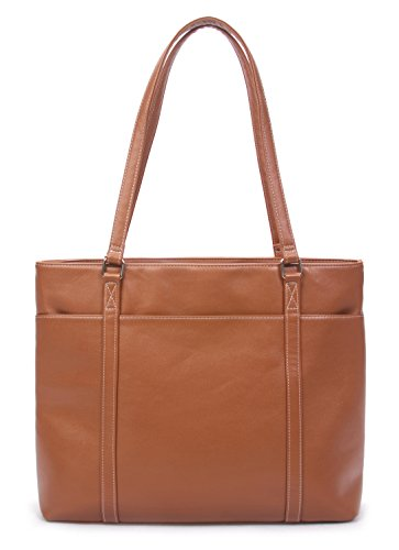 Overbrooke Classic Laptop Tote Bag, Tan - Vegan Leather Womens Shoulder Bag for Laptops up to 15.6 Inches