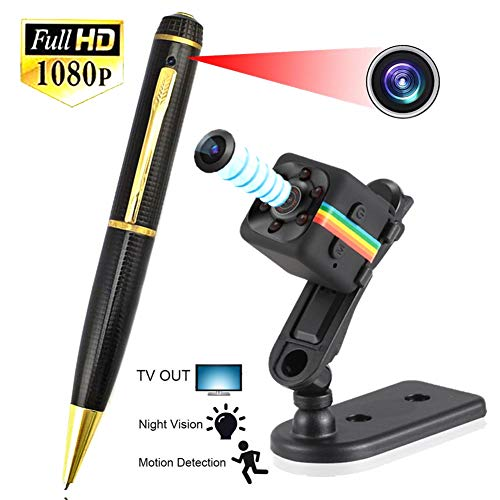 Full HD Spy Camera Pen Video Recorder and Photo Taking + Mini Spy Camera 1080P HD Night Vision Motion Detection Nanny Cam Mini Cam Surveillance Spy Hidden Cameras Wireless Security Cam - High Resolution Pen