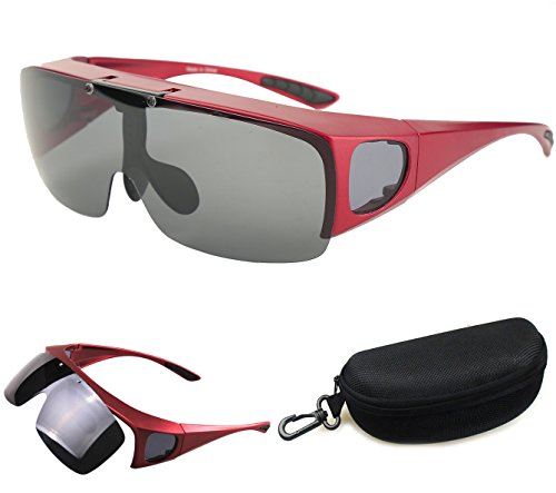 Drivers Jewelry Polarized (Bestum Driving Glasses Wraparounds Polarized Fitover Sunglasses (Red, Grey))