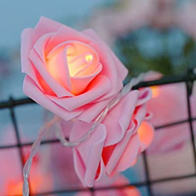 Rose Flower String Lights LEDMOMO 20 LED Battery Operated Fairy Lights for Home Wedding Christmas Party