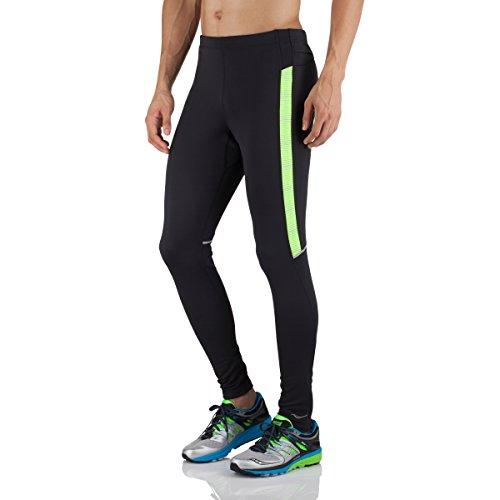 Saucony Men's Omni LX Tights, X-Large, Black/Vizipro Citron (Saucony Boston Running Pant)