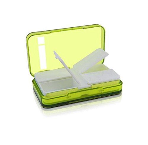 Price comparison product image Mini Medicine Case,Rukiwa 4 Slots Portable Medical Pill Box Drug Organizer (Green)
