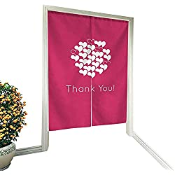 """alsohome Door Divider Curtain japanesein Door curtainThank You Card Design Template Simple Greeting Card Elegant Note Label Thanksgiving Symbol Sign 32""""x55"""""""