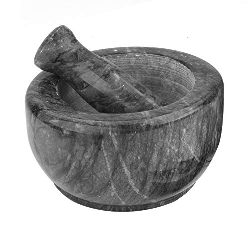 - Marble Mortar and Pestle Set Anzone Natural Texture Stone Grinder Bowl - 6.3 Inch Diameter