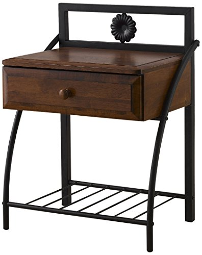 Baxton Studio Jevenci Vintage Antique Metal & Walnut Wood 1 Drawer Nightstand, Medium, Dark Bronze