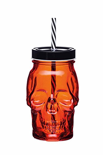 Kitchencraft Spookily Does It Skull-shaped Halloween Drinking Jar With Straw, ()