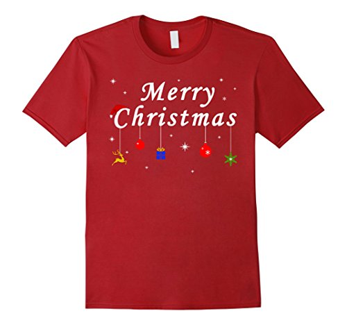 Mens Merry Christmas Gift T-Shirt XL Cranberry