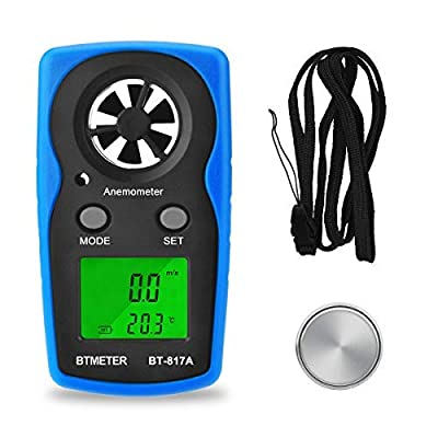 Wind Speed Meter - BT-817A Handheld Anemometer Digital Gauge Thermometer Air Velocity & Temperature Measurement for Windsurfing Shooting Sailing Pocket Weather Station