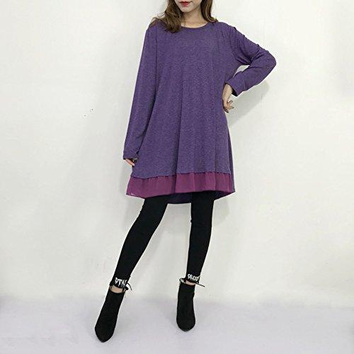 Lache Tunique Grande Longue Violet Longue Tee Blouse Coton Taille Bevalsa Femme Haut Top Casual Shirt Longue Manche 1XnwHBv