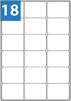 A4 Matt White Address Labels 18 Labels 63.5 x 46.6 18TV LL18 L7161 J8161 100 Sheets Stickers WTP