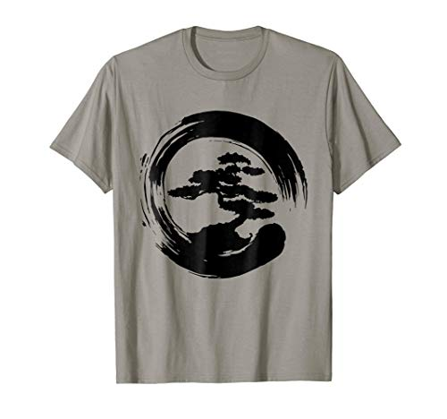 Bonsai Tree t shirt with Enso Circle Japanese Karate Zen ()