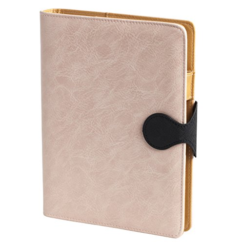 RAYKING Leather Journal Spiral Bound Notebook A5 Refillable Writing Loose Leaf Journal (Pink) (Calendar Executive Line Desk)
