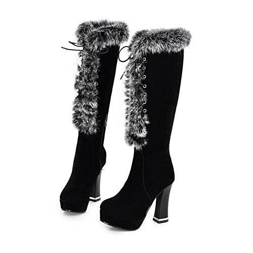 tacco anteriore stivali alto HScarponi H non nero snow 38 donna BLACK grosso slip Marrone satinato a invernali tamburo cinturino vp60f