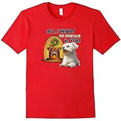 Maltese Dog Christmas Tshirt Love Puppies Xmas Wish Gift