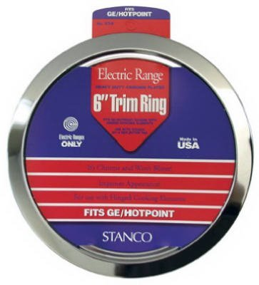 (STANCO METAL PROD GT-6 6 Chrome Trim Ring Triple Plated Chromed Steel Range Trim Rings by Stanco Metal Prod)