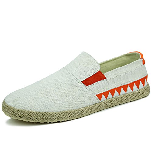 Scurtain Mens Slip on Canvas Driving Shoes Retro Low Casual Fashion Sneakers Loafers Skateboarding Shoes White gaOISbX