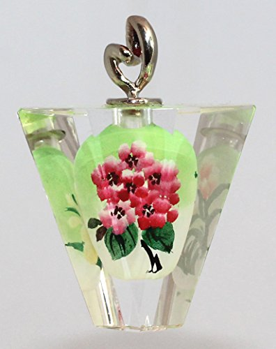 - Pink Hydrangea Flower Double-Sided Glass Art Lucky Crystal Pendant, Ornament, Charm